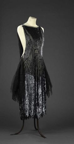 1925 - Evening dress - Tulle, sequins, jet beads