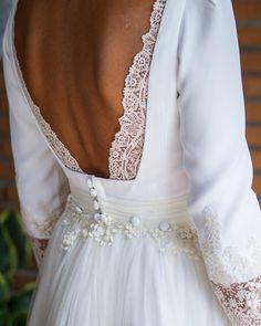 Navascués white vintage backless dress gown bridal wedding bride