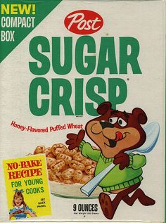 Sugar Crisp - The Post cereal was originally called Happy Jax, and was renamed to Sugar Crisp. In The name was later changed to Super Sugar Crisp with mascot Sugar Bear. My Childhood Memories, Great Memories, Childhood Images, Cherished Memories, Retro Recipes, Vintage Recipes, Vintage Advertisements, Vintage Ads, Vintage Food