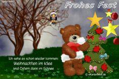 Ich sehe es schon wieder kommen: Weihnachten im Klee und Ostern dann im Schnee. Animierte Grußkarte zu Weihnachten mit Djabbi Teddy