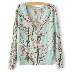 Ladylike V-Neck Flower Pattern Single Breasted Long Sleeve Cardigan For Women, AS THE PICTURE, ONE SIZE in Sweaters & Cardigans | DressLily.com