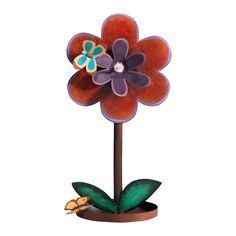 PORTAZAMPIRONE IN METALLO A378   Portazampirone fiore in metallo da davanzale. Con piattino raccogli-cenere. Dimensione: 14,5x19x35h cm. Elena Cecconi Design.