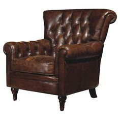 Set this handsome leather arm chair in a corner of your master suite and curl up with your latest mystery novel, or pull up a copper-finished end table and e...