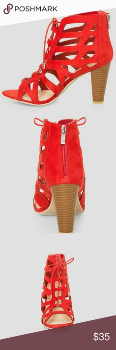 """Bootie - Laser Cut, Red 12W These sexy wide width sandals feature a micro suede and walkable stacked heel. Open toe style. Lace-up front. Back zip closure. Wide width wedge sandals. Approx 3.75"""" heel. Faux suede.  12W.  Brand new, original packaging. Shoes Ankle Boots & Booties"""