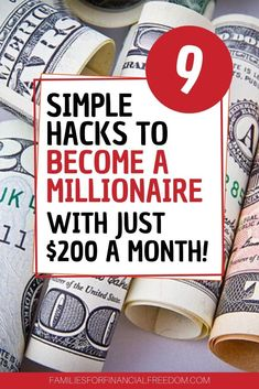 I love these 9 money hacks on how to become a millionaire! Easy saving and investing tips for beginners! Simple retirement planning tips! Begin to save money for retirement today! Discover simple personal finance tips to invest in your 20s or invest in your 30s! Learn to save for retirement! Find how to make a million dollars easy, starting now! #millionaire #milliondollar #millionairemindset #savemoney #investing #invest #retirement #retirementplanning #personalfinance #budget #money…