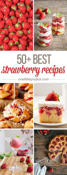 50 Best Strawberry Recipes - These would be DELICIOUS with fresh strawberries! Fruit Recipes, Sweet Recipes, Dessert Recipes, Easy Recipes, Just Desserts, Delicious Desserts, Yummy Food, Best Blueberry Recipe, Yummy Treats