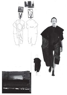 Fashion Sketchbook page with sketches & design development; graduate fashion portfolio // Louise Alsop by sallie Sketchbook Layout, Sketchbook Pages, Fashion Sketchbook, Sketchbook Inspiration, Fashion Sketches, Textiles, Fashion Design Portfolio, Fashion Silhouette, Fashion Collage