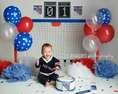 New York Rangers cake smash! #newyorkrangers #nyr #hockey #goalie #happybirthday…
