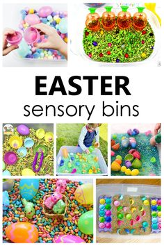 Creative ideas for creating Easter sensory bins to encourage pretend play and sensory explorations for toddlers and preschoolers. Easter Activities For Preschool, Toddler Learning Activities, Spring Activities, Toddler Preschool, Fun Learning, Crafts For Kids, Easter Art, Easter Ideas, Easter Crafts