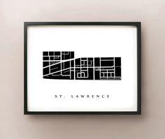 St. Lawrence Map  Toronto Neighbourhood Art Print by CartoCreative