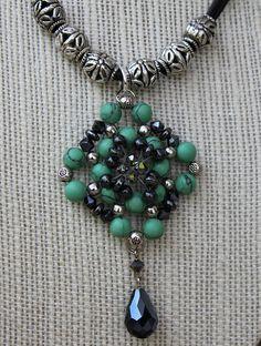 Turquoise, Marcasite and Hematite Beadwork Necklace