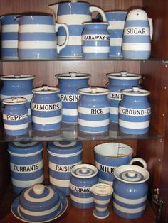 Would love this set Blue And White China, Blue China, Cornishware, Kitchenware, Tableware, Cottage Style Decor, Pots, White Dishes, Pottery Making