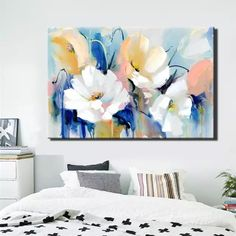 Modern Watercolor Flowers Wall Painting Hand Painted Poppy Flowers Print on Canvas Wall Picture For Living Room Home Decor Gift - Aquarell Malen Canvas Poster, Wall Canvas, Canvas Art, Poster Prints, Canvas Prints, Canvas Paintings, Hanging Paintings, Floral Wall Art, Living Room Pictures