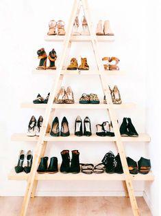 Shelf, Shelving, Footwear, Furniture, Shoe, Shoe store, Room, Crate Storage, Shoe Storage, Cool Diy, Shoe Rack Bedroom, Home Depot, Boho Deco, Ikea, Old Ladder, Diy Shoe Rack