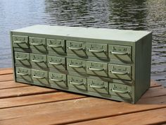 Vintage Equipto  Industrial Machinists Medical Metal Turquoise Filing File Cabinet Chest Crate Apothecary Drawers