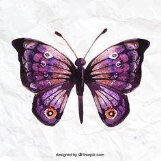 Mariposa pintada a mano Vector Gratis