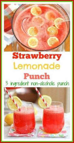 alcohol punch recipes This 3 ingredient strawberry lemonade punch is the perfect non alcoholic punch for bridal showers, baby showers, Christmas parties, weddings, and large group Strawberry Lemonade Punch, Cranberry Lemonade, Pineapple Lemonade, Easy Lemonade Punch Recipe, Simple Punch Recipe, Strawberry Punch Recipes, Strawberry Crush, Bridal Showers, Baby Showers