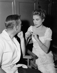 Alec Guinness and Grace Kelly on the set of The Swan, 1955