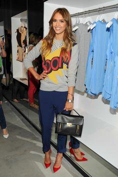 "Jessica Alba | ""Boom"" comic long sleeve shirt + navy socks, straight leg + red pumps"