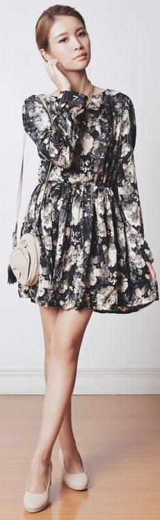 Romwe Floral Ink Crepe Dress