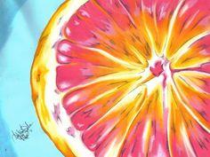 Grapefruit painting #art #oilpastel #painting #grapefruit #fruit