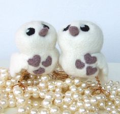 Wedding Cake Topper Love Birds Latte Natural by feltmeupdesigns