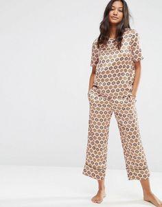 ASOS Satin Tile Print Woven Tee & Cullotte Pajama Set - Multi