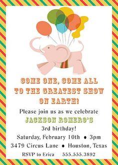 Circus Elephant theme party invitation