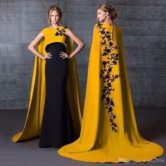 Long Kaftans High Neck Two Piece Mermaid Evening Dresses With Cape Long Black Lace Applique Satin Evening Gowns Designer Arabic Formal Dress