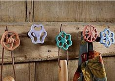 painted faucet handles--rack for a potting shed!