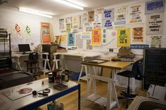 "Lesley and Pea's ""Keep it Wonky"" Studio. Love the typography wall and desks."