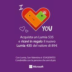 #SanValentino è alle porte e per voi abbiamo una promozione ESAGERATA. Se acquistate un #Nokia Lumia 535 avrete in regalo il nuovo #Lumia 435 per sorprendere la vostra dolce metà.  Condividete con le persona che amate di più. PROMOZIONE VALIDA FINO AL 14 02 2015