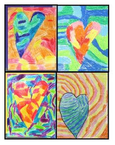 Warm and Cool Textured Hearts - simple, no prep art lesson focusing on color, texture, and space - great for substitutes!School Media Specialist use to introduce children to artists and art books Classroom Art Projects, Art Classroom, Art Videos For Kids, Art For Kids, Elements Of Art Color, Color Art Lessons, Warm And Cool Colors, Warm Colours, Teaching Art