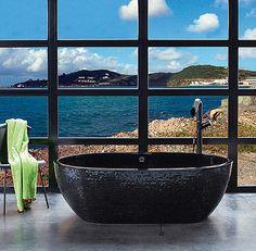 Beach style bathroom features a sizzling stone black bathtub [Design: PSCBath] Black Bathtub, Black Tub, Modern Luxury Bathroom, Bathroom Design Luxury, Luxury Bathrooms, Rustic Bathrooms, Bathroom Interior, Dream Bathrooms, Bidet Wc