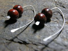 Red Jasper and Sterling Silver Earring by Blackberrygardens, $21.00