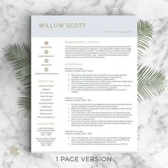 modern resume template for word and pages modern cv design resume modern instant - 2 Page Resume
