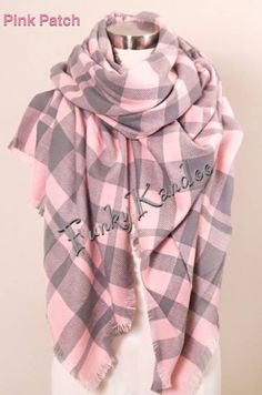 Pretty in Pink! Pink Patch Blanket Scarf. Purchase from Funky Kandoo. Visit us on Facebook or Instagram
