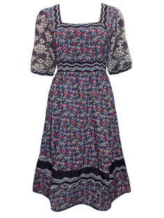 Black Floral Printed BOHO Dress