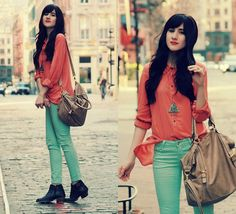 Mint + Coral (by Bonnie Barton) http://lookbook.nu/look/3224509-Mint-Coral