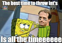 NFL meme: Drew Brees--2 interceptions in the Panther game alone