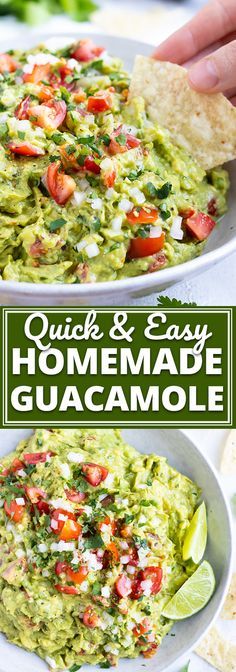 Recipes Snacks Easy This Homemade Guacamole recipe is the absolute BEST healthy dip and is our go-to party snack or Cinco de Mayo appetizer. Learn how simple it is to make guacamole with ripened avocados and a few other easy-to-find ingredients! Guacamole Recipe Easy, How To Make Guacamole, Easy Avocado Recipes, Homemade Guacamole Easy, Guacamole Salsa, Recipe Ingredients, Healthy Dips, Side Dishes, Clean Eating Snacks