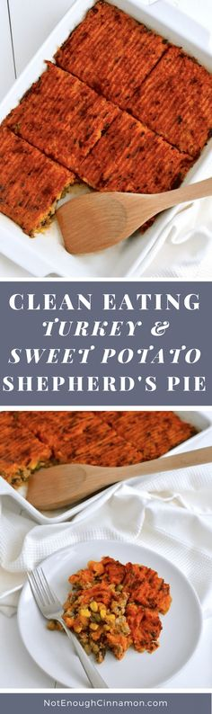 A delicious, healthy and comforting casserole made with ground turkey, veggies and top with a sweet potato mash. See the recipe on NotEnoughCinnamon. Sweet Potato Shepherd's Pie with Ground Turkey (Paleo,Gluten-free, Food For Thought, Healthy Drinks, Healthy Eating, Clean Eating Dinner Recipes, Healthy Meals, Casseroles Healthy, Healthy Food, Easy Meals, Clean Eating Tips