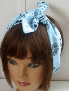 Hair Bandana,  Gypsy Headband, Hair Accessory, Light Blue and White, Narrow Pin Up Hair Bandana,  Elastic HairBand,   Boho, Hippie by StitchesByAlida on Etsy