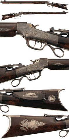 Engraved and silver mounted Ballard single shot target rifle crafted by Benjamin B. Loar, circa 1880.