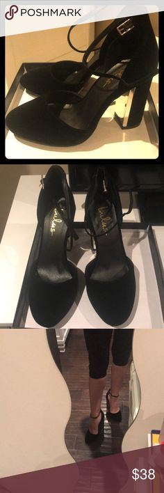 Lulus size 7 velvet heels Gold lining in inner heel makes these shoes stand out! Perfect condition. Lulu's Shoes Heels