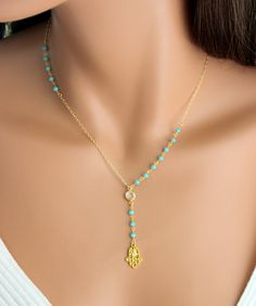 Hamsa Necklace Unique Y Style Gold Filled Sterling Silver Aqua Chalcedony 753 Necklaces Hand of Fatima Symbloic Jewelry Gift for her Hamsa + Halskette + Unique + Y + Style + Gold + Gefüllt + von + divinitycollection Boho Jewelry, Jewelry Gifts, Beaded Jewelry, Unique Jewelry, Jewelery, Handmade Jewelry, Jewelry Design, Personalised Jewellery, Hand Jewelry