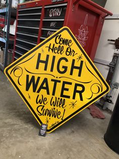 One of a kind Garage Art High Water, hand lettered in the good old U S of A on a reclaimed metal road sign, ready for wall hanging. Would look great in any Store, man cave or garage hangout. Garage Art, Hand Painted Signs, Rustic Signs, Handmade Shop, Good Old, Man Cave, Signage, Hand Lettering, Graffiti