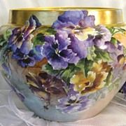 """SOLD Absolutely """"STUNNING PANSIES' Wonderful Victorian French Limoges JARDINIERE ~ PLANTE"""