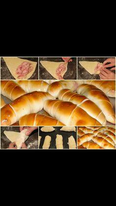 Ham wrapped in bread. Croissants, Venezuelan Food, Venezuelan Recipes, Bread Recipes, Cooking Recipes, Healthy Recepies, Eat This, Pan Bread, Latin Food