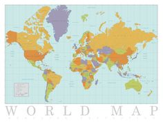 See the world without ever leaving home courtesy of this classic world map wall art. World Map Poster, World Map Wall Art, All Poster, Map Posters, Room Posters, Frames On Wall, Find Art, Art Prints, Nursery